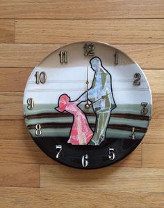 FATHER DAUGHTER DESIGN decoupage clocks made from recycled plates by crazyclocklady on Etsy https://www.etsy.com/listing/236902550/father-daughter-design-decoupage-clocks