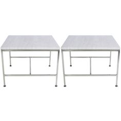 Pair of Paul McCobb travertine top  brass end tables ca.1950's