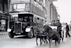 London transport STL1080 on route 30 in October 1939 is seen with two Shetland ponies.