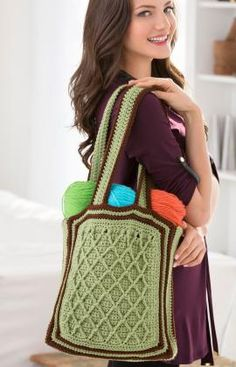 Latticework Shoulder Bag, free crochet pattern I can see this in neutrals, with a touch of color.