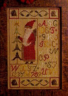 Primitive Cross Stitch Pattern A favorite of mine, Santa Button Sampler by Homespun Elegance. I love the colors used in this piece. Cross Stitch Samplers, Cross Stitching, Cross Stitch Embroidery, Modern Cross Stitch, Cross Stitch Designs, Cross Stitch Patterns, Christmas Cross, Primitive Christmas, Xmas