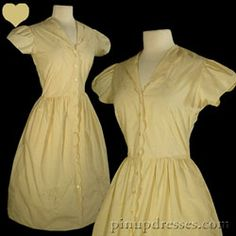 PinupDresses.com Vintage 50s Tan Floral Embroidered Pinup Swing Dress S #Vintage