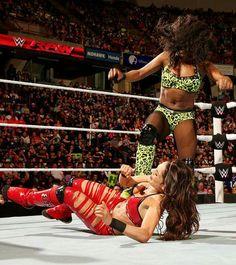 Naomi kicking Brie Bella