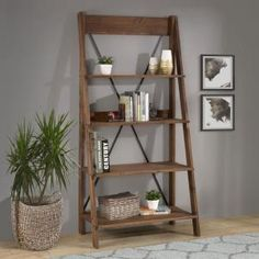 Welwick Designs 68 in. Brown Wood Ladder Bookcase with Open Back – The Home Depot – Bookshelf Decor Walnut Bookcase, Etagere Bookcase, Bookcase Bed, Bedroom Bookshelf, Ladder Bookshelf, Bookshelves, Leaning Bookshelf, Bookshelf Ideas, Brown Furniture