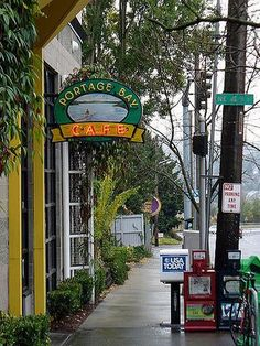 """""""This little organic food cafe was delectable, AND... not ostentatious."""" Seattle, Washington photo of """"Portage Bay Cafe Sign"""" by IgoUgo travel photographer, elusivone."""