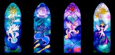 MLP: Four Princesses Stain Glass Windows Resized