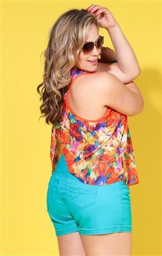 Deb Shops plus size #tropical print tank
