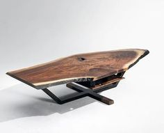 Iroquois Coffee Table #walnutslab #blackend #metal #leather #coffeetable #furniture #furnituredesign #antonmakadesigns