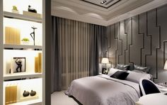 déco chambre adulte avec un grand lit et éclairage indirect