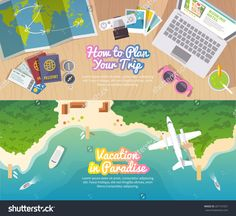 Colourful Travel Vector Flat Banner Set For Your Business, Web Sites Etc. Quality Design Illustrations, Elements And Concept. Trip Plan. Vacation In Paradise. Top View. - 267151031 : Shutterstock