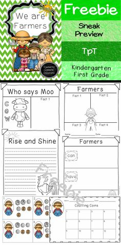 Freebie for Educators. Farmers. Facts about Farm Animals. Farmers can are have. Write the amount of money shown. #mathcenter #freebie #teacherspayteachers
