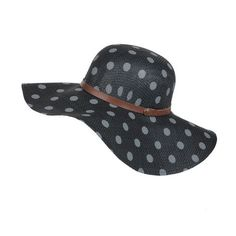 Womens Hot Dot Beach  Hat - The sun doesnt stand a chance against your powers of style. The Hot Dot Beach Hat keeps you hidden while still making a statement with adorable dot print and a leather band with side buckle. 5 brim. #haircut