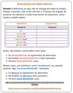 Conjugação do verbo Demolir #verbos #portugues #concursospublicos