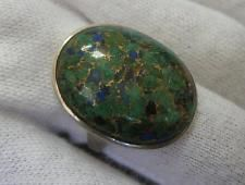 GREAT 925 Sterling Silver Bright Green Azurite with Pyrite Lazurite Ring Sz 7.75