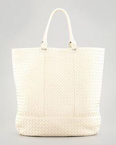 Maxi Woven North-South Tote Bag, Off White by Bottega Veneta at Bergdorf Goodman.