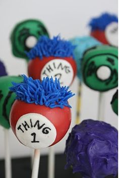 Seuss-tastic cake pops..& other Dr. Susess themed treats