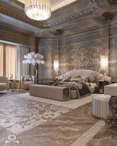 Amazing 32 Best Furniture Stores For Bedroom Sets Furniture; Get the look of trendy bedroom sets you desire for an untouchable … Luxury Homes Interior, Luxury Home Decor, Home Interior Design, Modern Mansion Interior, Luxury Bedroom Design, Modern Bedroom, Contemporary Bedroom, Modern Contemporary, Tuscan Bedroom