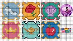 Disney Princess coasters perler bead pattern by Drayzinha So many cute patterns in the link.