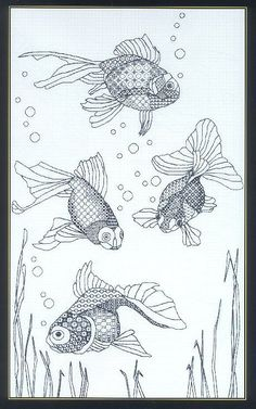 Blackwork Goldfish 5 of 5 Motifs Blackwork, Blackwork Cross Stitch, Blackwork Embroidery, Cross Stitching, Cross Stitch Embroidery, Embroidery Patterns, Hand Embroidery, Cross Stitch Designs, Cross Stitch Patterns