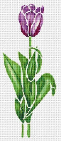 Tulips, Purple Flowers, Flower, Floral, Counted Cross Stitch Pattern, Xstitch Pattern