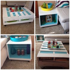 Pallet coffee table & crates side tables
