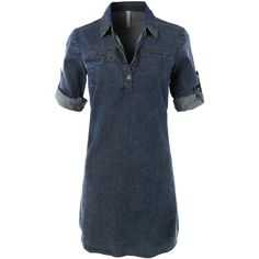 LE3NO Womens Classic Chambray Jean Denim Shirt Dress ($29) ❤ liked on Polyvore featuring dresses, denim shirt-dress, denim chambray dress, long shirt dress, straight dress and shirt-dress