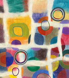 """Jenne Giles. Felted Paintings. Grids. Grid 7.  Felted wool, mixed media. 33 x 29"""""""