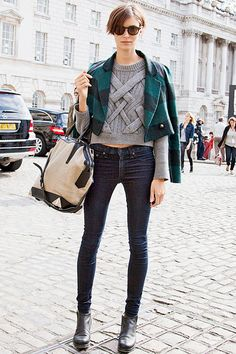 grey sweater, jacket, dark skinny jeans, boots, #streetstyle