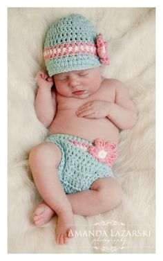 Robin Egg Blue hat and diaper cover