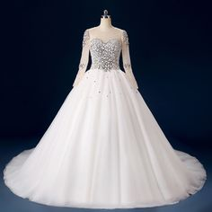 Hot selling Real Photo Dubai Arabic Scoop Tulle Long Sleeves Crystal Beaded Bodice Ball Gown Wedding Dresses Bridal Gown FW25