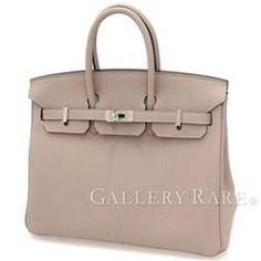 Hermes Birkin 25 cm handbag tourterelle gray × Silver hardware Togo T engraved HERMES Birkin bag