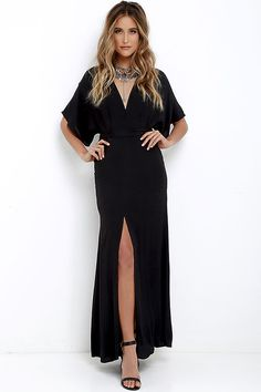 Take a joy-filled jaunt on a breezy day with the Where the Wind Blows Black Maxi Dress! Textured woven poly shapes this casual maxi dress with wide-cut, short sleeves and a V-neckline. High waist (with tying sash) transitions into a billowing maxi skirt with thigh-high side slit. Hidden back zipper with clasp.