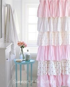Summers at the Cottage Shabby Chic Beach Cottage Bedding Linens Rachel Ashwell Duvet Quilt Chenille Bedspread Shower Curtain Vintage Romantic Homes