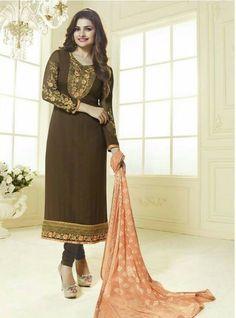382f03e42d Vinay Fashion 3034 Brown Color Georgette Long Designer Suit Salwar Kameez,  Churidar Suits, Anarkali