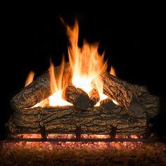Country Oak Vented Ceramic Gas Log Set | WoodlandDirect.com: Log Sets - Gas, Northern Flame