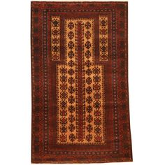 Herat Oriental Afghan Hand-knotted 1970s Semi-antique Tribal Balouchi Beige/ Red Rug