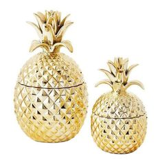 Gold Pineapple Jars found on Polyvore featuring home, kitchen & dining, food storage containers, decor, filler and pineapple cookie jar