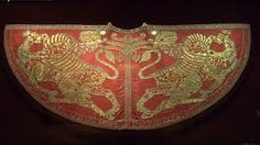 Coronation Mantle of King Roger II of Sicily, Holy Roman Empire (ca. Made in Palermo. Bob Ross, Shades Of Red Color, Color Red, Historical Fiction Authors, High Middle Ages, Gold Embroidery, Embroidery Ideas, 12th Century, Louboutin Shoes