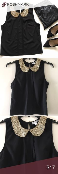 NWT Black Sequin Collar Blouse This gorgeous sleeveless top comes in black and features a gold sequin peter pan collar, pleated details on front and button closure on back. NWT, 100% polyester. a'gaci Tops