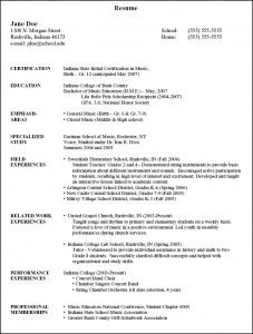 Sample Resume INPIEQ  Music Education Resume