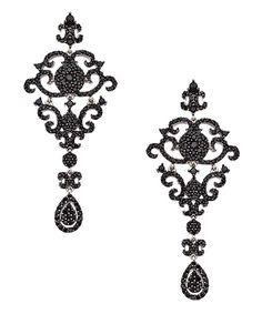 Yobrevol Silver and Black Spinel Fancy Dangle Drop Earrings - Max & Chloe