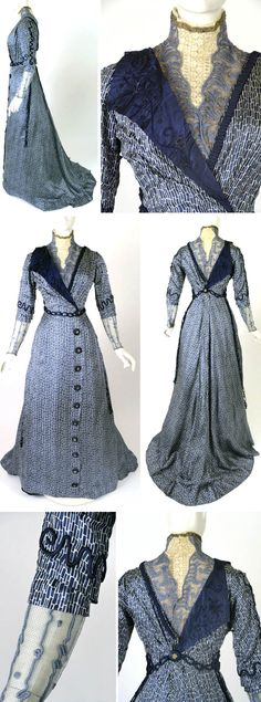 Afternoon gown, J. Franken, Brooklyn, ca. 1910 - royal blue & white silk print. White lace & blue & gold embroidered net yoke. White lace standup collar edged in gold bullion ribbon & chiffon ruffle. Elbow-length sleeves w/tucks & piped trim. Silk undersleeves