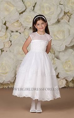 Joan Calabrese Style 113370- Cap Sleeve Organza and Satin Dress with Lace Bodice