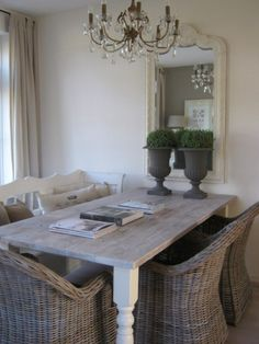 Lovely textures in this dining room Dining Room Inspiration, Furniture Inspiration, Furniture Styles, Home Decor Furniture, Gray Interior, Interior Design, Shabby Chic Dining, Shabby Home, Piece A Vivre