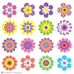 Digital Spring Flowers Clipart  Clip Art  Floral Scrapbooking Embellishment Supplies Digital Clipart Pink Green Blue Purple Yellow 10076. $4.90, via Etsy.