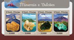 ST16401a inerals and volcanoes (Galeras, Colombia, Limonite; Taal, Philippines, Calcite; Popocatépetl, Mexico, Biotite; Monte Merapi, Java, Indonesia, Malachite-Chrysocolla)