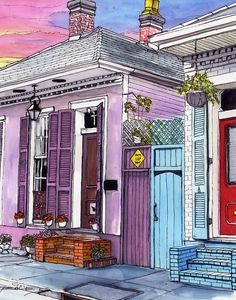 59 French Quarter House With Red Door And Sunset Canvas Print / Canvas Art by John Boles Red Things 3 colors red wiki Beginner Art, Beginner Painting, Easy Watercolor, Watercolor Paintings, Watercolour, Landscape Painting Images, Red Door House, New Orleans Art, Sunset Canvas