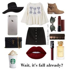 """""""Wait, it's fall already?"""" by heyitsizzy22 on Polyvore featuring H&M, MANGO, San Diego Hat Co., Yves Saint Laurent, Ray-Ban, Tory Burch, NARS Cosmetics and Lime Crime"""
