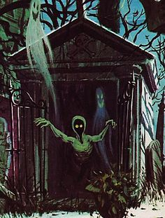 Really beautiful Colin Campbell artwork for the Story And Song From The Haunted Mansion record sold at Disneyland in the Retro Halloween, Halloween Horror, Holidays Halloween, Happy Halloween, Halloween Illustration, Bd Comics, Horror Comics, Arte Horror, Horror Art