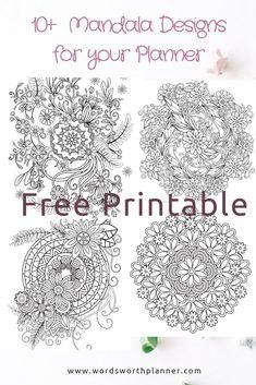 54 Best ideas for tattoo mandala girl free printable Free Planner, Planner Pages, Printable Planner, Planner Stickers, Planner Ideas, Goals Planner, Mandala Stencils, Free Stencils, Mandala Dots